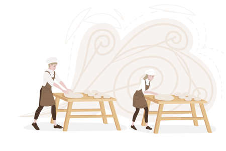 Professional chef male and female making dough for baking working on wooden tables cartoon character design flat vector illustration on white background.