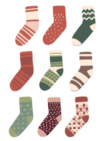 Set of socks with the original design flat vector illustration isolated on white background.