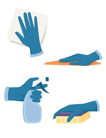Set of hand in gloves use cleaning tools spray bottle foam rubber sponge and washcloth flat vector illustration isolated on white background. Vettoriali