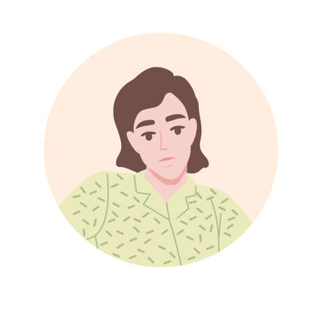 Flat portrait avatar icon for social platforms with young woman on beige circle vector illustration on white background.