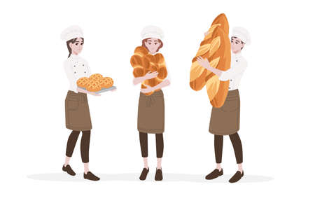 Male and female chef cook holding big bread in hands professional bakery cartoon character design flat vector illustration isolated on white background.
