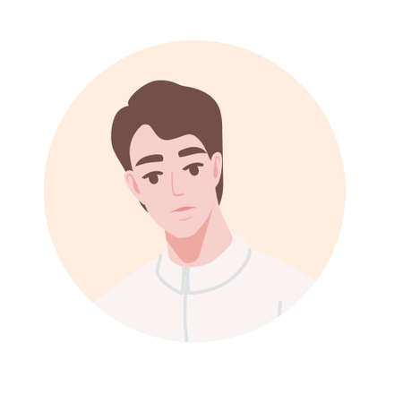 Flat portrait avatar icon for social platforms with young man on beige circle vector illustration on white background. Illustration