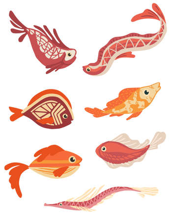 Set of sea exotic fishes flat vector illustration isolated on white background.