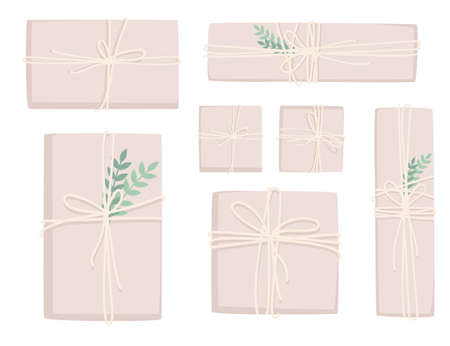 Set of paper packages for post delivery or gift present packages decoration element with green leaves flat vector illustration isolated on white background.