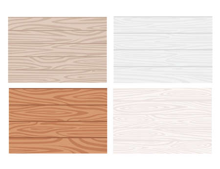 Set of four different color wooden texture flat vector illustration isolated on white background.