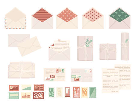 Big set of postal stamps with postage envelope and paper packages flat vector illustration isolated on white background.