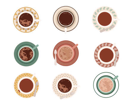 Set of coffee cup with foam and saucer with different patterns flat vector illustration isolated on white background collection of mug top view.