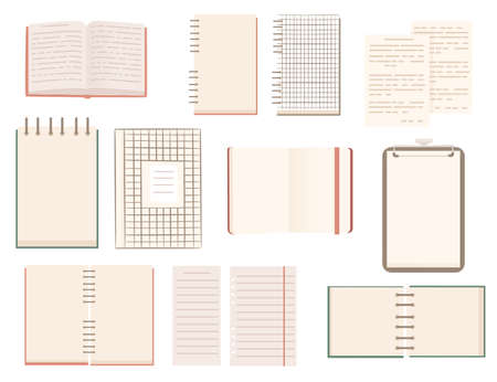 Set of different notepads flat vector illustration isolated on white background. Çizim
