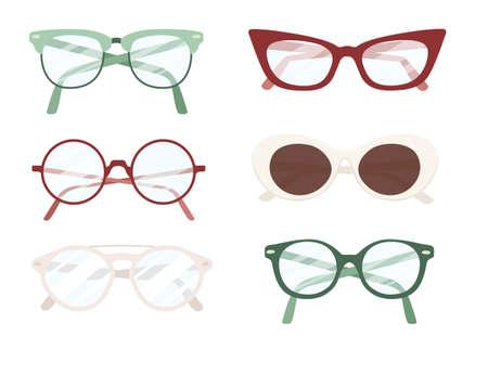 Set of different modern eye glasses flat vector illustration isolated on white background. Çizim