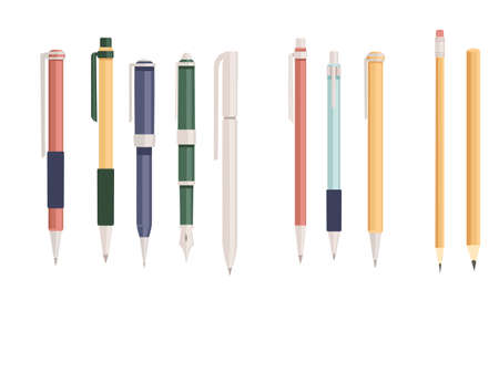 Collection of office or school supply pen and pencils flat vector illustration isolated on white background. Çizim