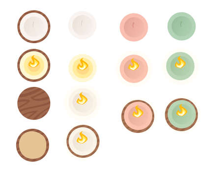 Set simple colorful candle on wooden plates top view flat vector illustration isolated on white background.