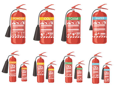 Set of different type and size fire extinguisher flat vector illustration isolated on white background fire safety first Çizim