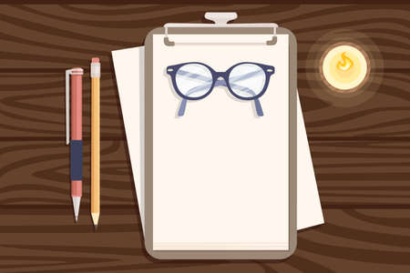 Flat workplace organization top view with wooden texture table notepad eyeglasses and pen work desk for office concept flat vector illustration.