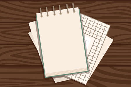 Flat workplace organization top view with wooden texture table notepad and documents work desk for office concept flat vector illustration.
