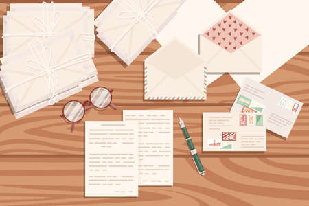 Flat workplace organization top view with wooden texture table notepad cup eyeglasses and pen work desk for office concept flat vector illustration.