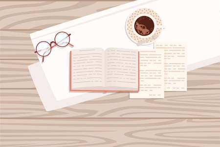 Flat workplace organization top view with wooden texture table notepad cup eyeglasses and open book work desk for office concept flat vector illustration. Çizim