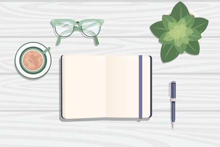 Flat workplace organization top view with wooden texture table notepad cup flower pot eyeglasses and pen work desk for office concept flat vector illustration.