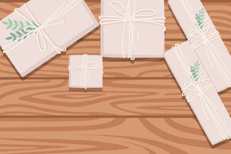 Flat workplace organization top view with wooden texture table paper packages for post delivery or gift present element with green leaves work desk for office concept flat vector illustration.
