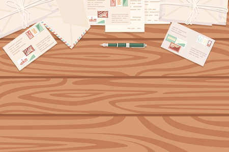 Flat workplace organization top view with wooden texture table postage envelope and pen work desk for office concept flat vector illustration.
