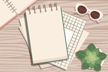 Flat workplace organization top view with wooden texture table notepad flower pot eyeglasses and pen work desk for office concept flat vector illustration.