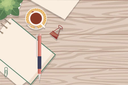 Flat workplace organization top view with wooden texture table notepad cup flower pot pin and pen work desk for office concept flat vector illustration.