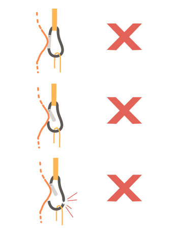 Simple tips how to use metal carabiner in tourism wrong use flat vector illustration isolated on white background