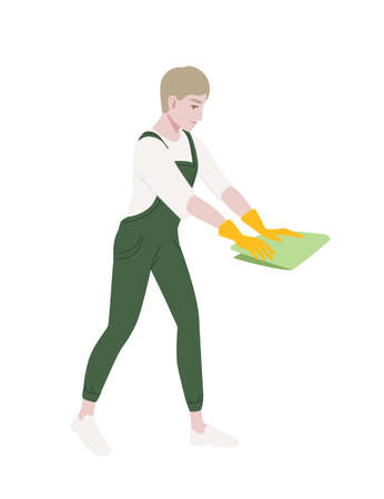 Professional cleaner man wearing green uniform use yellow rubber gloves and green rag cleaning process cartoon character design flat vector illustration isolated on white background Иллюстрация