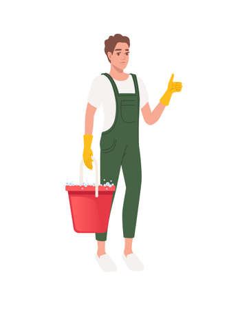 Professional cleaner man wearing green uniform use yellow rubber gloves and holding bucket with detergent cleaning process cartoon character design flat vector illustration on white background Иллюстрация