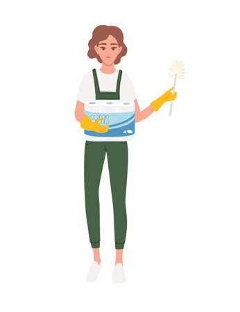 Professional cleaner woman wearing green uniform use yellow rubber gloves and hold toilet paper and toilet brush cleaning process cartoon character design flat vector illustration on white background