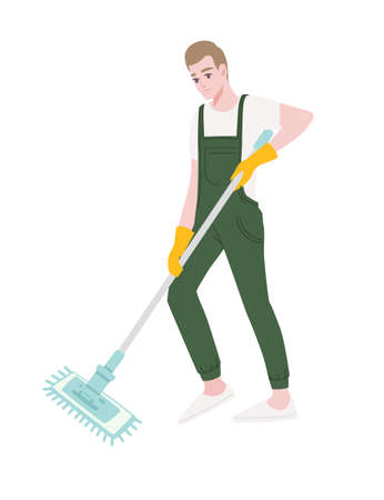 Professional cleaner man wearing green uniform use yellow rubber gloves and modern mop cleaning process cartoon character design flat vector illustration isolated on white background