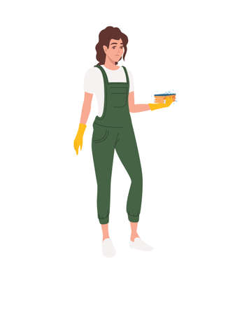 Professional cleaner woman wearing green uniform use yellow rubber gloves and sponge cleaning process cartoon character design flat vector illustration isolated on white background