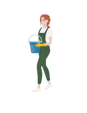 Professional cleaner woman wearing green uniform use yellow rubber gloves and holding bucket with detergent cleaning process cartoon character design flat vector illustration on white background Иллюстрация