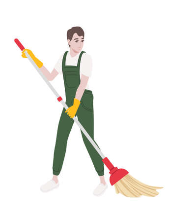 Professional cleaner man wearing green uniform use yellow rubber gloves and mop cleaning process cartoon character design flat vector illustration isolated on white background