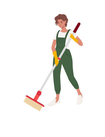 Professional cleaner woman wearing green uniform use yellow rubber gloves and modern mop cleaning process cartoon character design flat vector illustration isolated on white background Иллюстрация