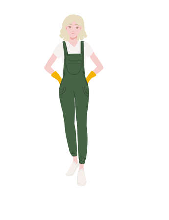 Professional cleaner woman wearing green uniform cleaning process cartoon character design flat vector illustration isolated on white background Иллюстрация
