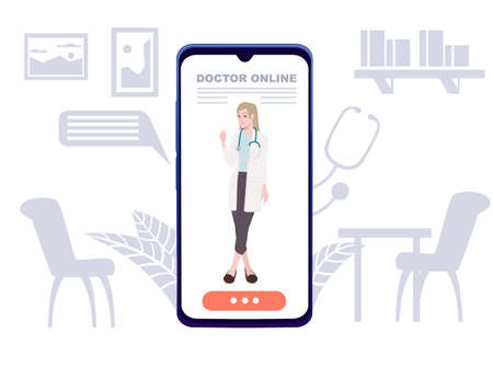Modern concept online medicine smartphone app doctor online medical assistance flat vector illustration cartoon character design