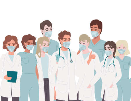 Characters of cute cartoon doctors and nurses wearing surgical face mask male and female medicine workers flat vector illustration