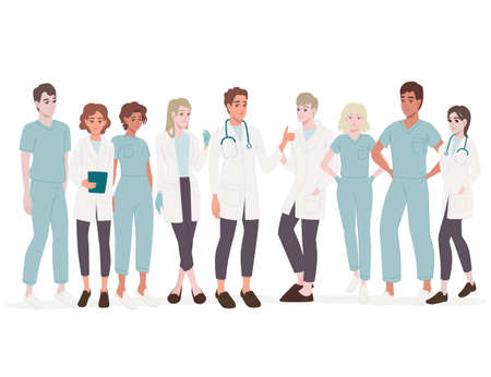 Characters of cute cartoon doctors and nurses male and female medicine workers flat vector illustration