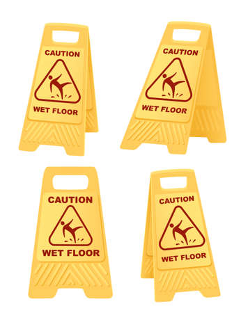 Set of yellow warning sign caution wet floor sign with falling man icon flat vector illustration isolated on white background.