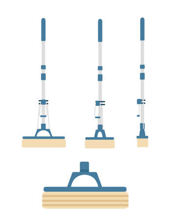 Set of pieces modern plastic mop flat vector illustration isolated on white background.