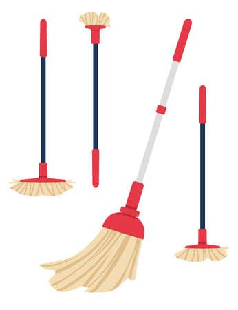 Set of modern plastic trendy broom flat vector illustration isolated on white background.