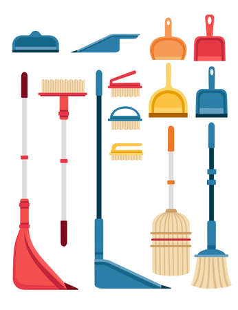 Scoop and brush for sweeping equipment for housework set of colored cleaner tools flat vector illustration isolated on white background. Çizim