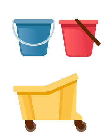 Set of plastic buckets for cleaning housework equipment flat vector illustration isolated on white background.
