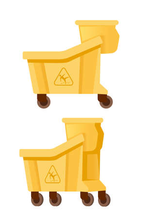 Set of plastic buckets on wheel for cleaning professional equipment flat vector illustration isolated on white background.