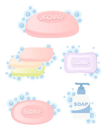 Set of colored bar soap solid and liquid soap with bubbles flat vector illustration isolated on white background.