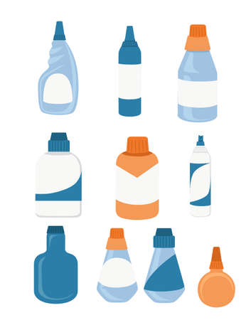 Household chemicals bottles pack cleaning supplies with empty with blank label flat vector illustration isolated on white background.