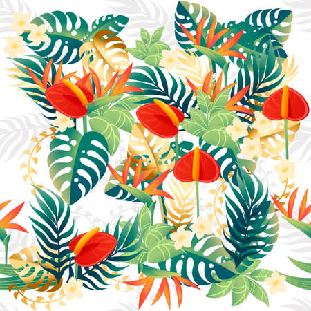 Seamless pattern of decorative bouquet flowers red anthurium floral element for garden or flower pot flat vector illustration on white background.