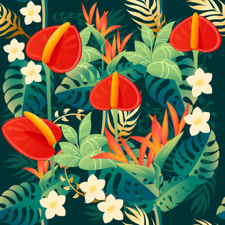 Seamless pattern of decorative bouquet flowers red anthurium floral element for garden or flower pot flat vector illustration on green background.