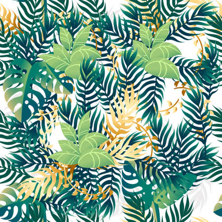 Exotic tropical leaves seamless pattern flat vector illustration on white background.
