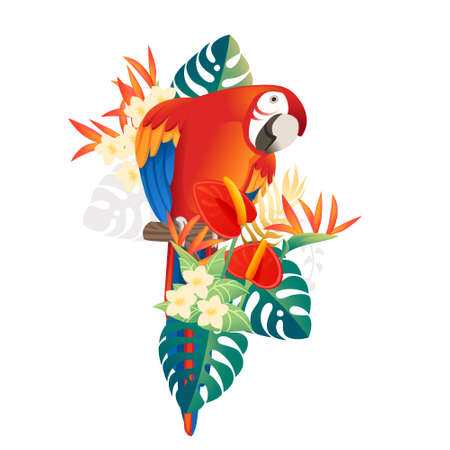 Cute Macaw parrot sit with green leaves and red flower head cartoon animal design flat vector illustration isolated on white background.